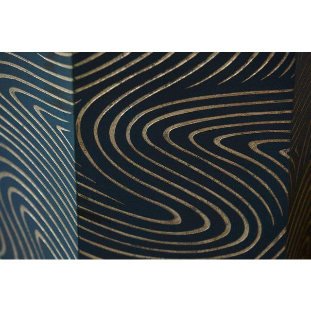 Engraving Hexagonal Dark Blue Box With Carved Gilded Graphic Pattern For Sale - Image 7 of 9