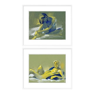 Figure 5 & 10 Diptych by David Orrin Smith in White Frame, Small Art Print For Sale