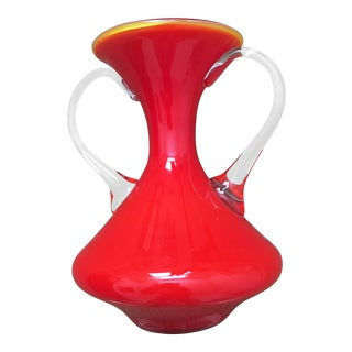 Red Murano Glass Vase With Handles For Sale