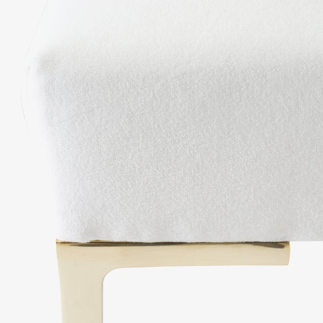Astor Petite Brass Ottomans in Snow Velvet by Montage - Pair For Sale In New York - Image 6 of 7