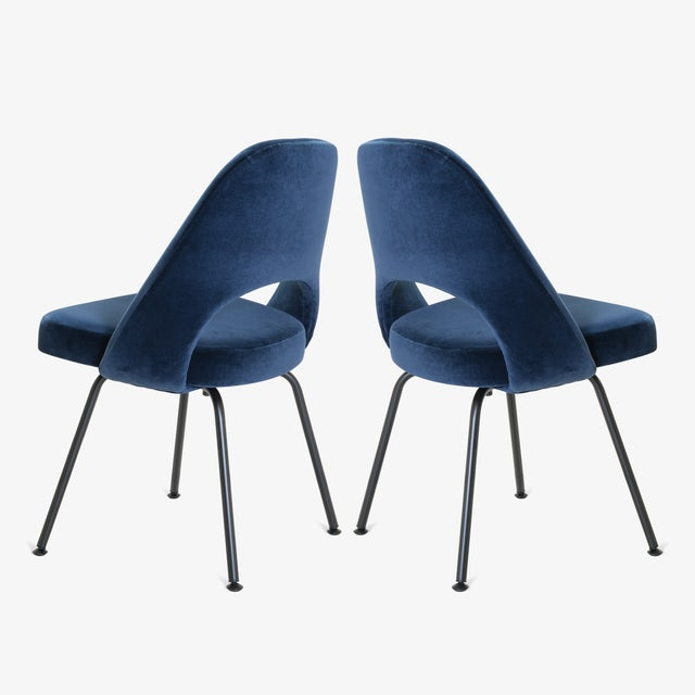 Not Yet Made - Made To Order Saarinen Executive Armless Chairs in Navy Velvet, Obsidian Matte - Set of 6 For Sale - Image 5 of 13