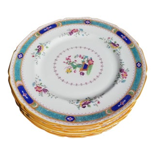 Ten Antique Royal Doulton India Tree Plates For Sale