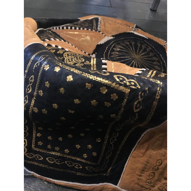 Islamic Gold Embroidered Light Leather Moroccan Pouf For Sale - Image 3 of 5