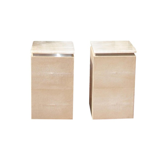 Tan Sherry Garrett Honey Onyx Top Shagreen Accent Tables - A Pair For Sale - Image 8 of 8