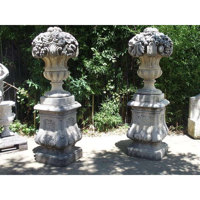 Pair of Italian Limestone Urns With Fruit and Floral Bouquets on Pedestals For Sale - Image 13 of 13