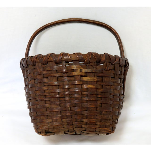 Late 19th Century Antique American Handwoven Splint Basket For Sale - Image 4 of 7