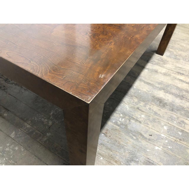 Wood Milo Baughman Burl Wood Dining Table With Two Leaves For Sale - Image 7 of 9