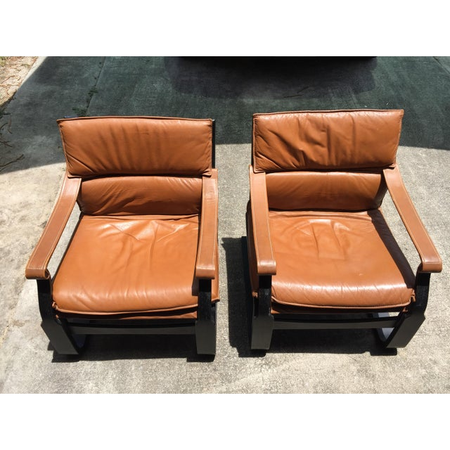 Mid-Century Modern Nelo Sweden Leather Armchairs - A Pair For Sale - Image 3 of 8