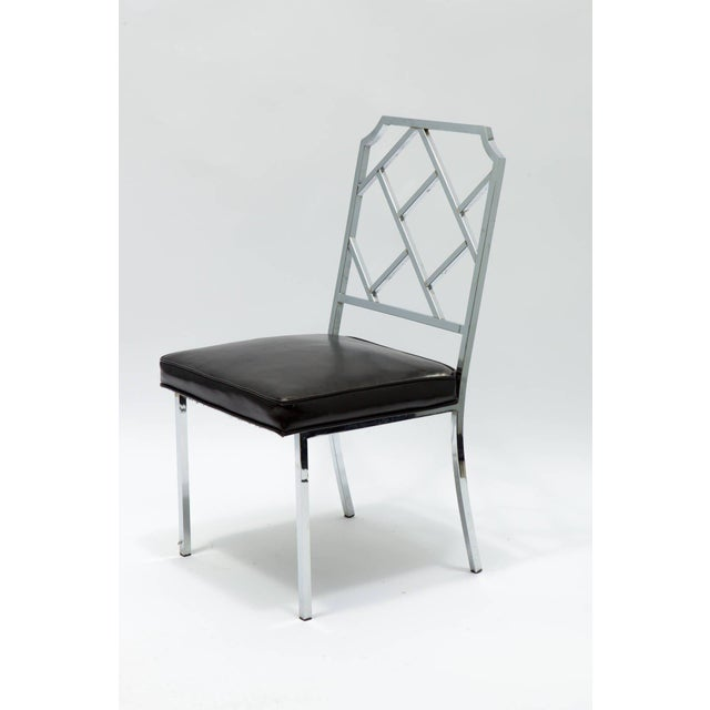 Mid-Century Modern 1970s Vintage Milo Baughman for Dia Chrome Lattice Back Dining Chairs- Set of 6 For Sale - Image 3 of 9