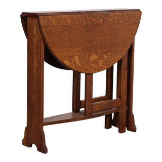 Arts & Crafts Oak Drop Leaf Table, Labeled Michigan Chair Company For Sale