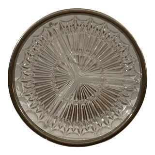Vintage Mid-Century Modern Hand Cut Glass Divided Serving Plate With Silver Colored Metal Trim For Sale