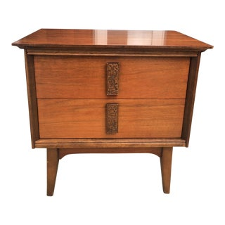 1960s Mid Century Modern Bassett Mayan Walnut Nightstand For Sale