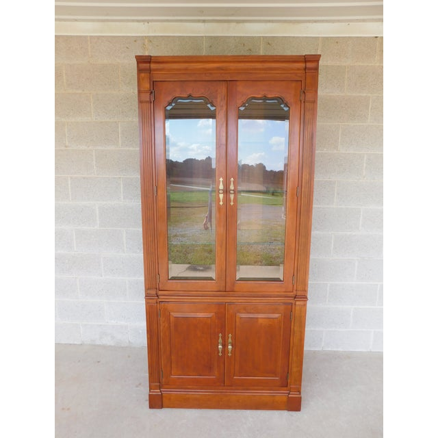 """Stickley Cherry 4 Door Bookcase Lighted Display Wall Cabinet Model 4740 """"B"""" For Sale - Image 13 of 13"""