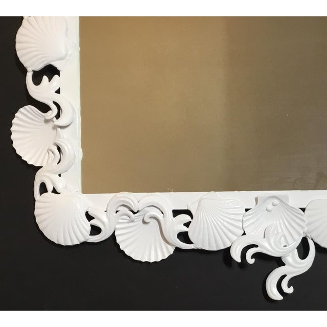 Cast Iron Organic Modern Iron Sea Shell Mirror For Sale - Image 7 of 13