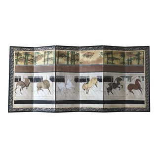 Vintage Japanese Classic Theme of Stabled Horses 6 Panel Paper Screen For Sale