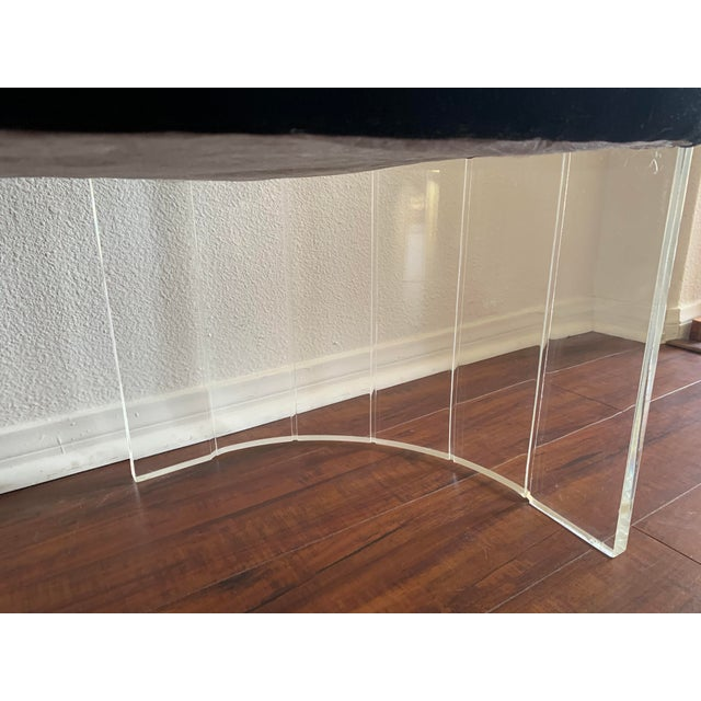 """1970s Vintage Charles Hollis Jones for Hill Mfg Clear Lucite """"Angel Wings"""" Bench For Sale In San Diego - Image 6 of 12"""