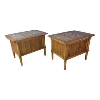 1950s Pecan Wood End Tables with Portuguese Marble Tops - a Pair For Sale