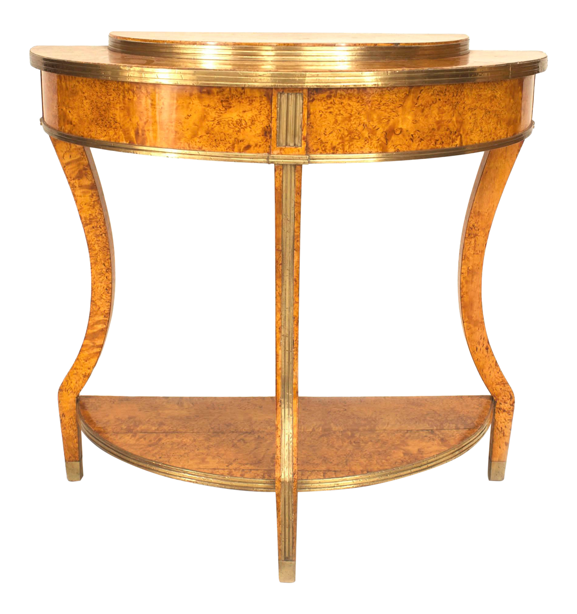 18th Century Neoclassical Russian Brass Mounted Demilune Console Table For  Sale