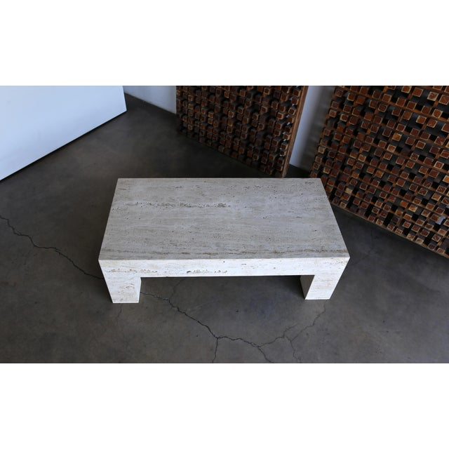 Cream Travertine Coffee Table 1980 For Sale - Image 8 of 11