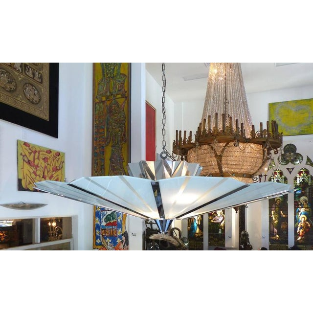 Monumental Circa 1960 Stainless Steel and Etched Glass Chandelier - Image 5 of 8