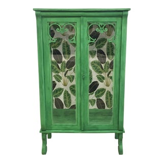Cutom Painted Green Display Cabinet