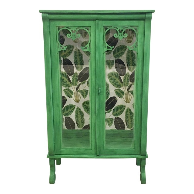 Cutom Painted Green Display Cabinet For Sale