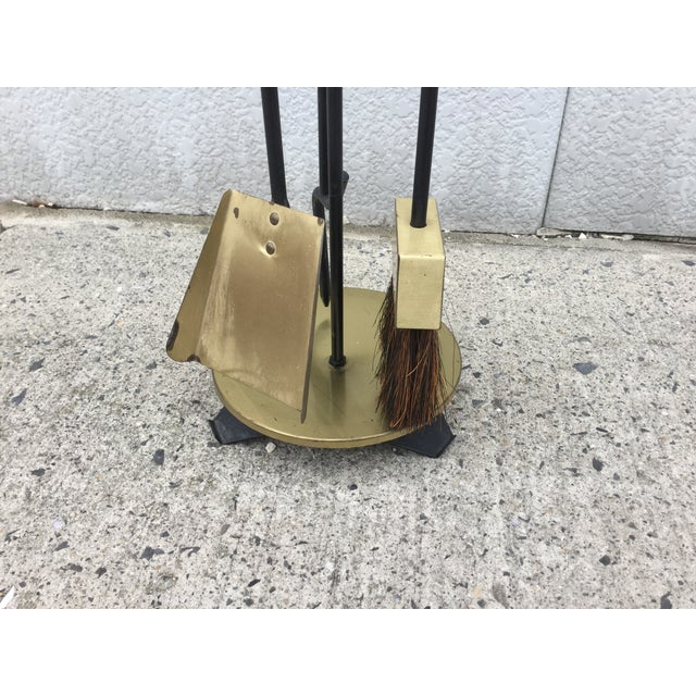 1960s Modernist Brass Fireplace Tools & Holder Set - Image 5 of 10