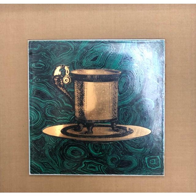 Hollywood Regency Vintage Fornasetti Italian Framed Malachite Tiles - Set of 4 For Sale - Image 3 of 13
