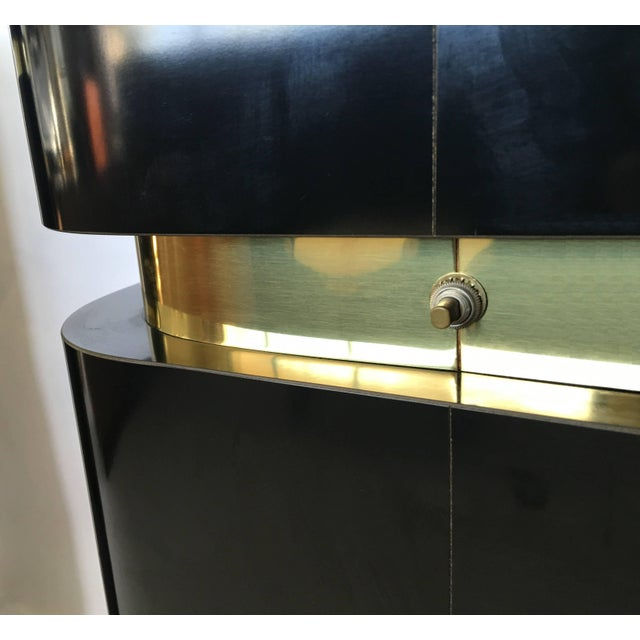 Pair of Black Lacquer and Brass Pedestals For Sale In Dallas - Image 6 of 8