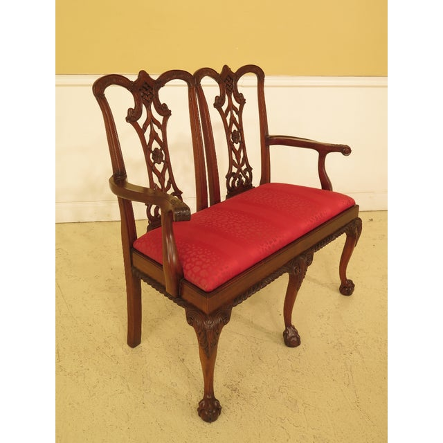 Chippendale Chippendale Mahogany Settee Bench For Sale - Image 3 of 11