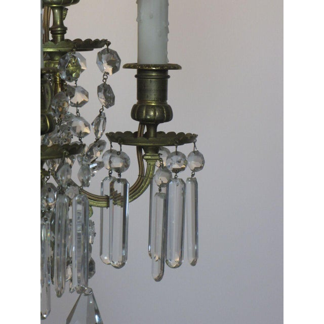 French Bronze and Crystal Chandelier For Sale In Boston - Image 6 of 9