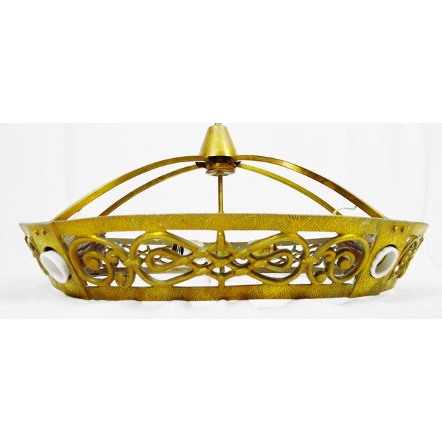 Art Deco Brass 8 Light Chandelier - Image 6 of 11