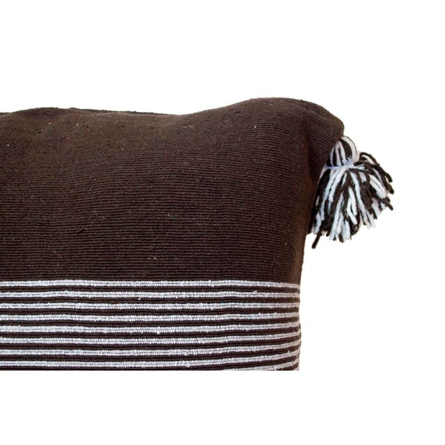 Moroccan White Striped Brown Pom Pom Pillow - Image 3 of 4
