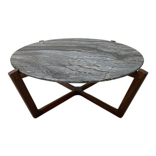 Design Within Reach Atlas Walnut Marble Coffee Table For Sale