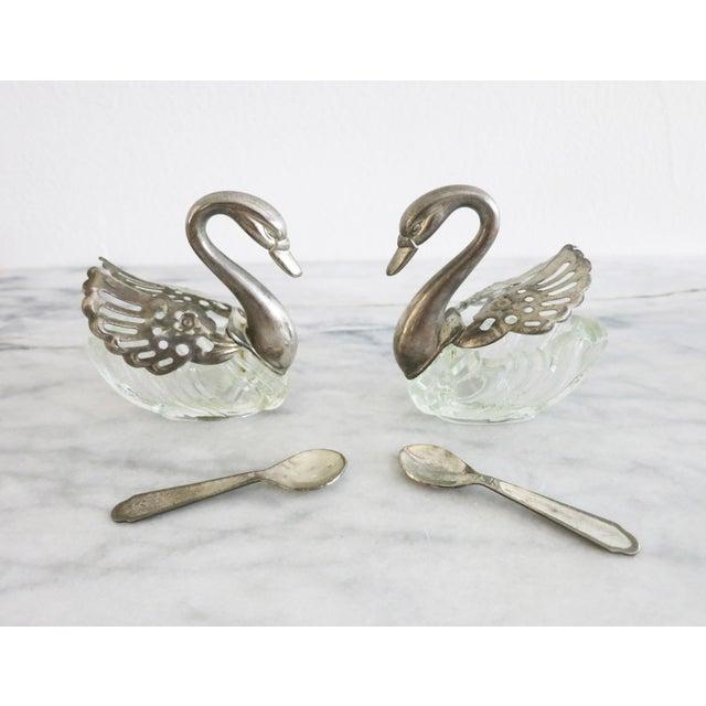 Metal Vintage Godinger Swans Salt Well - Set of 4 For Sale - Image 7 of 10