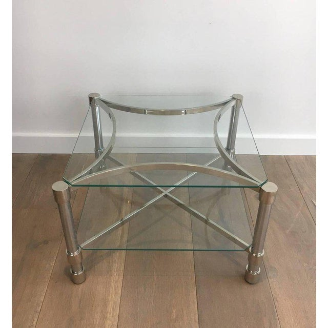 Pair of Double-tiered Chrome Side Tables For Sale In New York - Image 6 of 11