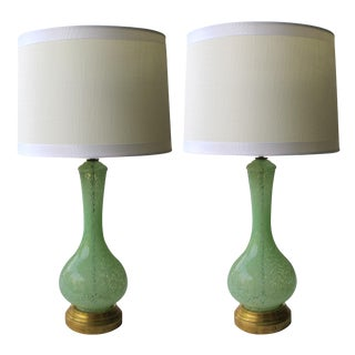 A Shapely Pair of Italian Mid-Century Celadon-Green Bottle-Form Glass Lamps For Sale