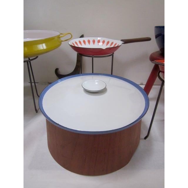 Blue Large Teak Swedish Enamel Pot, Cathrineholm Style For Sale - Image 8 of 11
