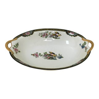 "Japanese Noritake Porcelain Serving Bowl in ""Pheasant"" Pattern Circa 1920's For Sale"