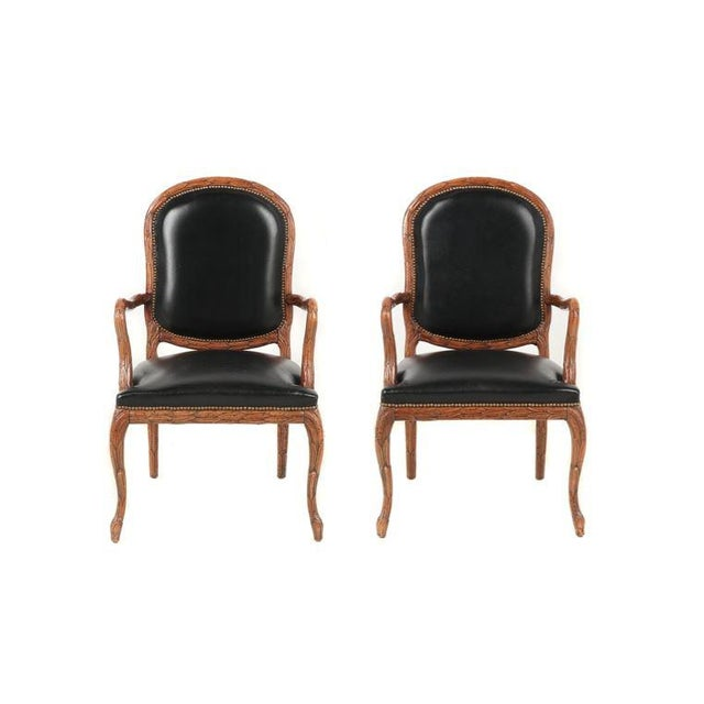 Vintage Mid Century Hand-Carved Italian Carved Wood Leather Bound Armchairs- A Pair For Sale - Image 13 of 13