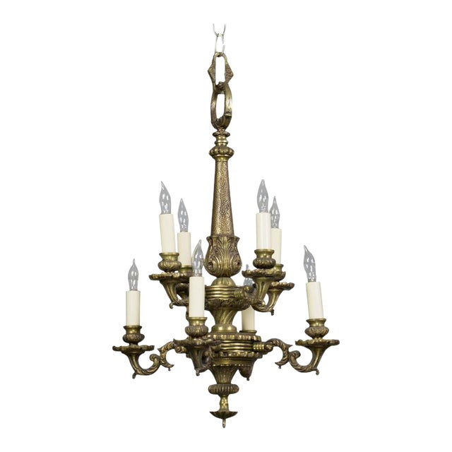 Small French 1940s Bronze Chandelier With Eight Lights - Image 1 of 9