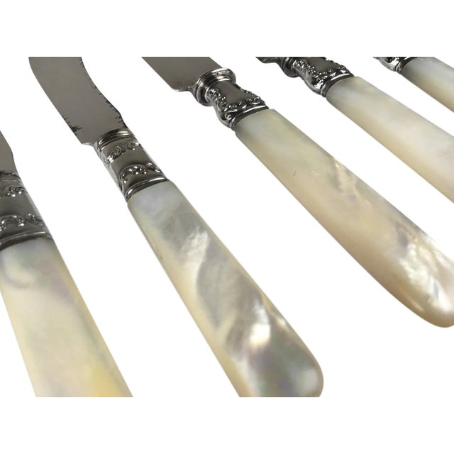 Antique Sterling Silver Mother of Pearl Handled Silver Knives - Set of 8 For Sale - Image 4 of 5
