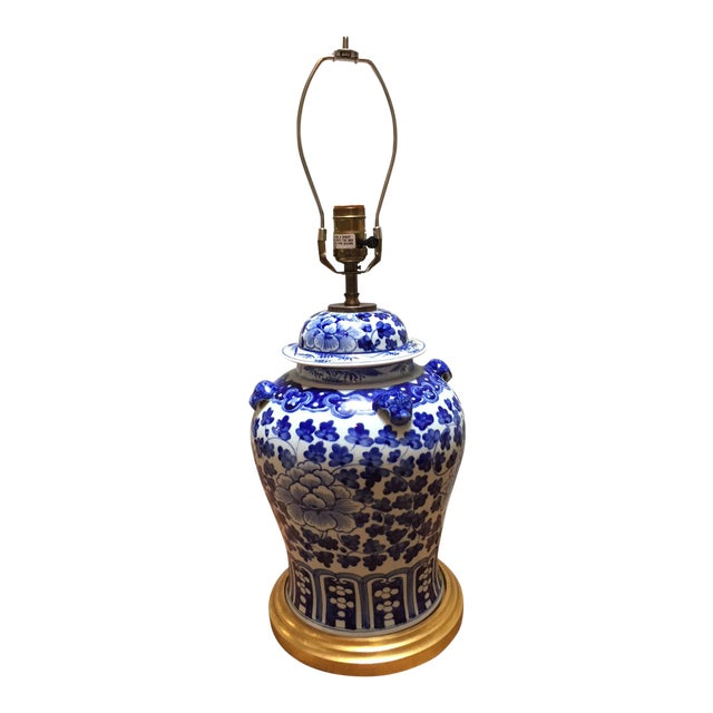 Hand Painted Blue & White Porcelain Temple Jar Table Lamp For Sale