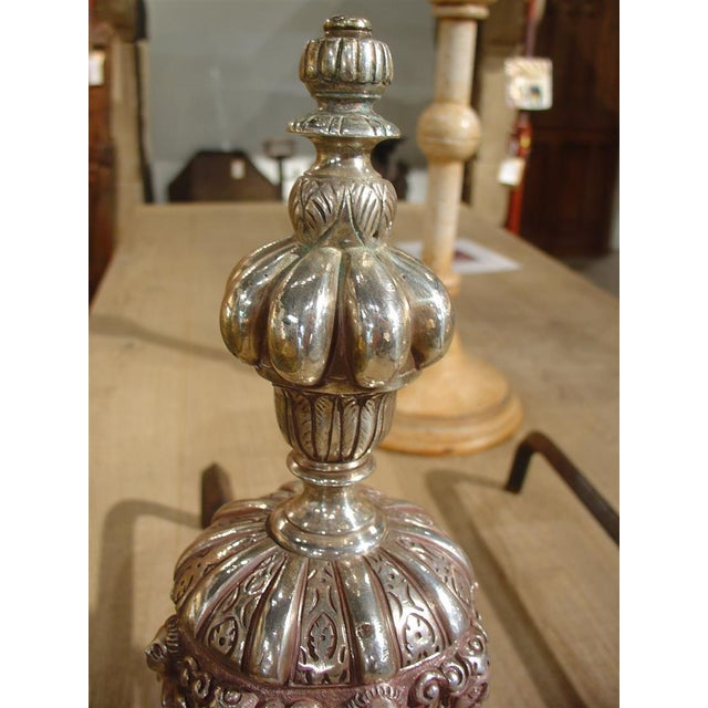 Silver Pair of Antique Louis XIV Style Silvered Bronze Andirons For Sale - Image 8 of 8