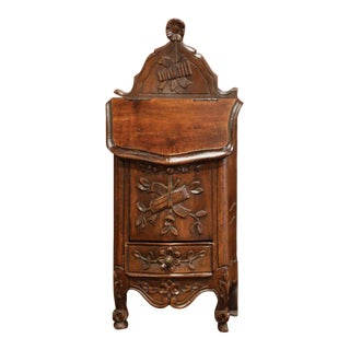 Early 20th Century French Louis XV Carved Walnut Bombe Salt Box From Provence For Sale
