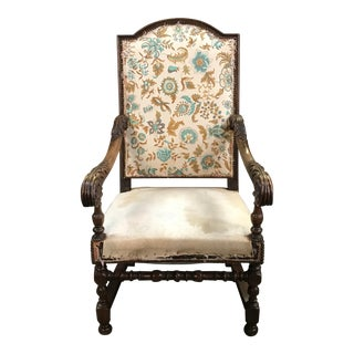 18th Century Antique Louis XIII Style French Armchair For Sale