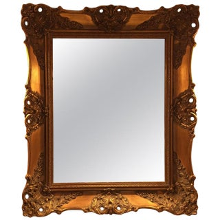 1970's Vintage French Gilded Gold Framed Wall Mirror For Sale