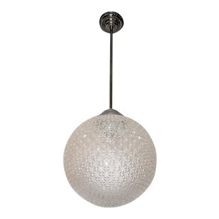 French Modern Globe Chandelier in Frosted Glass and Nickeled Bronze, 1960 For Sale