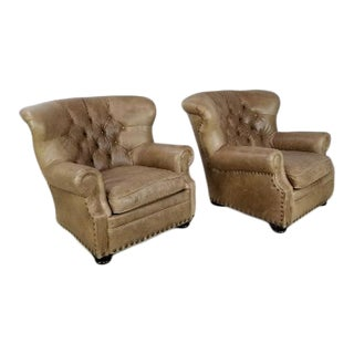 Restoration Hardware Churchill Lounge Chairs - A Pair For Sale