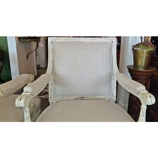 Louis XVI Style Pair of Painted Armchairs For Sale - Image 10 of 12